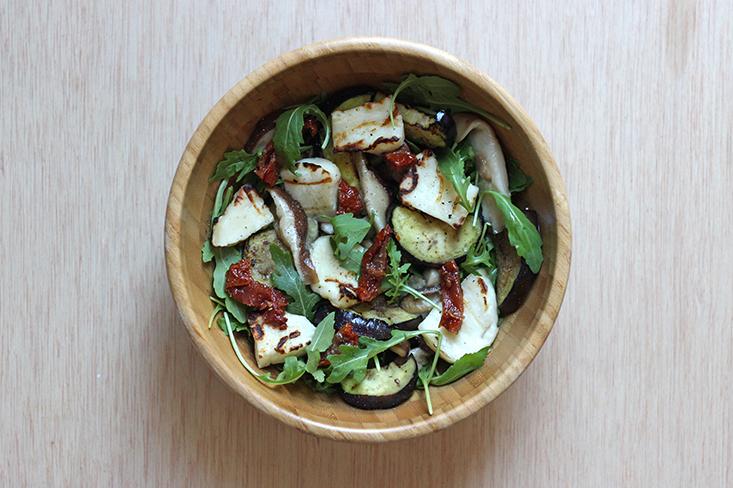 salade-halloumi-aubergine-shiitake