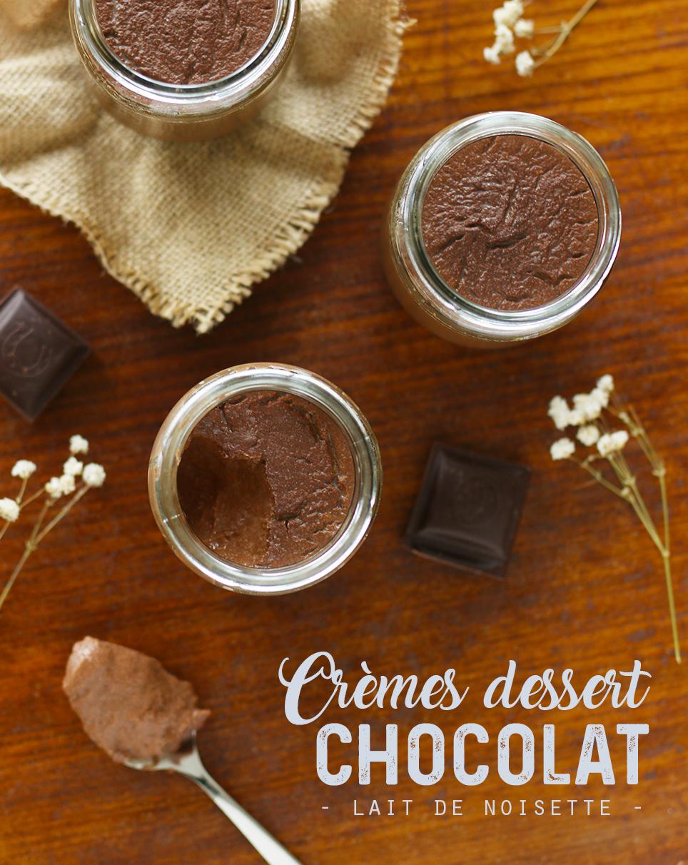 Crèmes dessert végétales au chocolat & lait de noisette - Mango & Salt