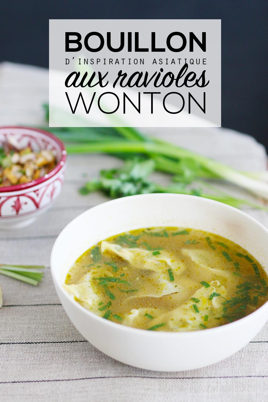 Bouillon vegan d'inspiration asiatique aux ravioles wonton - Mango & Salt
